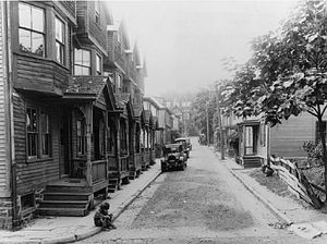Palmer Square - Baker's Alley looking south toward Nassau Street c. 1925, an historic African-American neighborhood displaced by Palmer Square