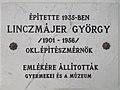 Bakony House, György Linzmájer plaque, Veszprém, 2016 Hungary.jpg