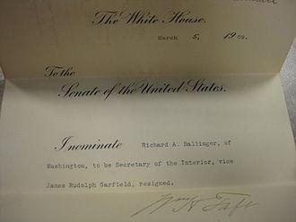Richard A. Ballinger - Ballinger's Secretary of the Interior nomination