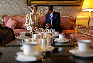 Mary McAleese - McAleese in discussion with US President Barack Obama at Áras an Uachtaráin on 23 May 2011.