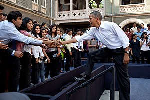 St. Xavier's College, Mumbai - Barack Obama greeting students (2010)