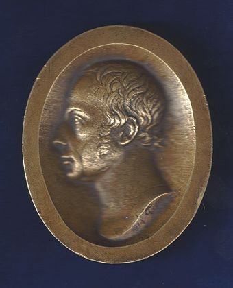 Medallion of Francis I, the first Emperor of Austria, designed by Philipp Jakob Treu in Basel, Switzerland on 13 January 1814. This was the date in the War of the Sixth Coalition when the allied monarchs of Russia, Austria and Prussia crossed the Rhine at Basel on their way to fight Napoleon in France. Basel, Switzerland, Napoleonic Wars Medal of Francis II by P. J. Treu (better version).jpg