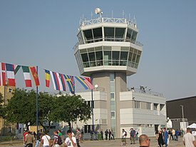 Batajnica Air Base control tower during Batajnica Airshow, 2012.jpg