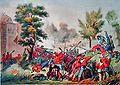 Battaglia del Volturno - combattimento di Porta Romana, verso Santa Maria Maggiore - Perrin - litografia - 1861 (01).jpg