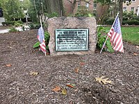 "Photo shows an historical marker at the Lutheran Theological Seminary at 7301 Germantown Ave, Philadelphia, PA 19119. The marker reads, ""On this spot at dawn on the fourth day of October Seventeen Hundred Seventy Seven the American troops under General Washington attacked the British troops thus beginning the Battle of Germantown. Erected by the class of 1919."""