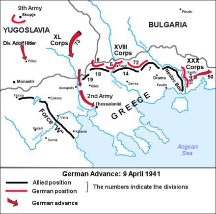 German advance until 9 April 1941, when the 2nd Panzer Division seized Thessaloniki Battle of Greece - 9 April 1941.png