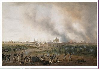 Smolensk - French and Polish soldiers assault the burning city of Smolensk, 1812