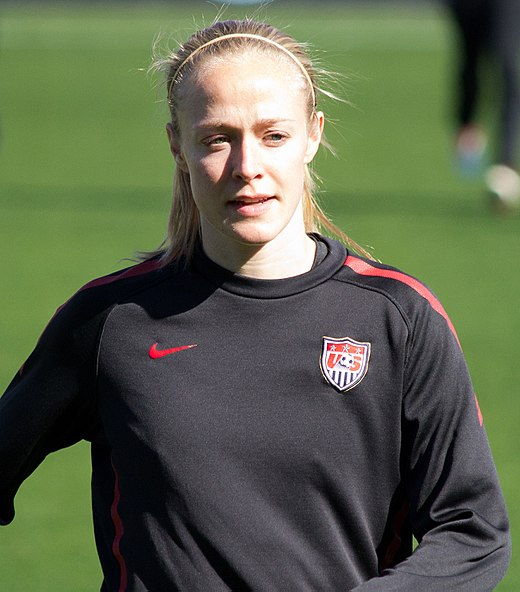 Sauerbrunn with the United States national team prior to an international friendly against New Zealand in Frisco, Texas in February 2012 Becky Sauerbrunn Warmup.jpg