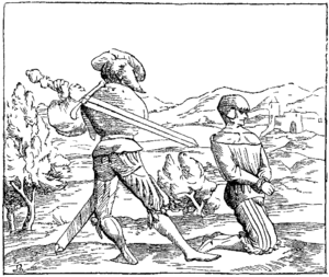 Beheading Fac simile of a Miniature on Wood in the Cosmographie Universelle of Munster in folio Basle 1552.png