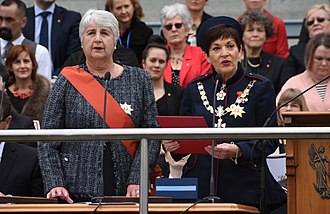 Governor-General of New Zealand - Governor-General Dame Patsy Reddy (right) takes the affirmation after being sworn in by the Chief Justice, Dame Sian Elias, on 28 September 2016