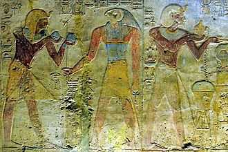 Temple of Beit el-Wali - Wall relief of Ramesses II making an offering to Horus at Beit el-Wali temple