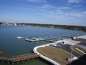 Florida State Road 686 - Looking northeast from new Belleair Causeway bridge over intracoastal water toward Belleair, Florida and Belleair Shore, Florida; Pinellas County Boatramp Park in foreground