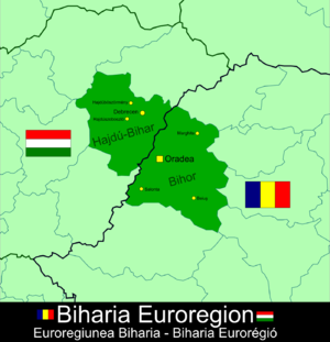 Biharia Euroregion - Map of Biharia Euroregion
