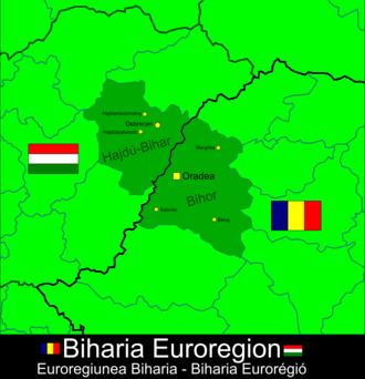 Biharia Euroregion - Map of Biharia Euroregion