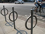 Bike bollards along a bike path in Toronto.