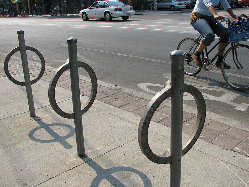 File:Bike path on College in Toronto.jpeg