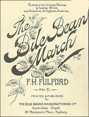 "Bile Beans - Frontispiece to the sheet music for the ""Bile Bean March"""