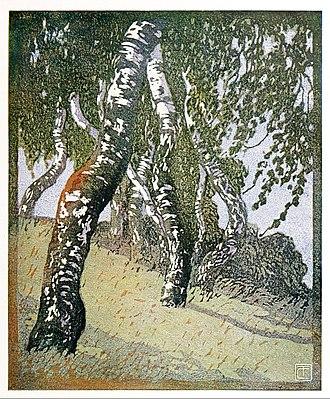 Carl Thiemann - Birches by Carl Thiemann, color woodcut, 1908.