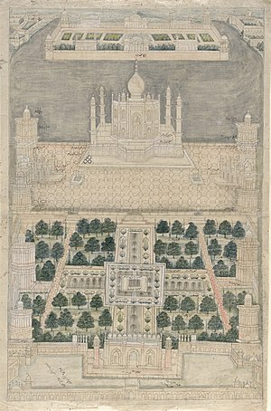 Mehtab Bagh - Old bird's eye view of the Taj complex with the Mehtab Bagh at the top across the river Yamuna (18th century)