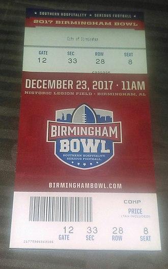 Birmingham Bowl - A 2017 Birmingham Bowl ticket