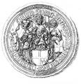 Bishop Zbigniew Oleśnicki of Kraków seal 1438.PNG