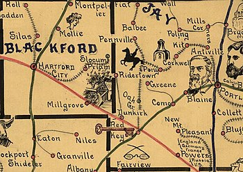 Old map from the 1880s with drawings
