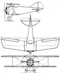 Bleriot-SPAD S.51 3-view Aero Digest August,1930.png