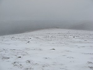 English: Blowing snow, Creag Mhigeachaidh Even...