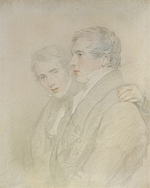 Mainly charcoal drawing, with some colour, of two young men; a little more than head and shoulders; the one on the left faces towards the viewer; the one on the right faces left. Both are clean shaven and wear what looks like great coats.