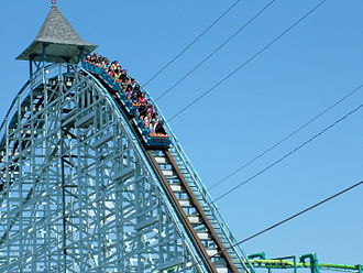 Blue Streak (Cedar Point) - Initial drop on Blue Streak