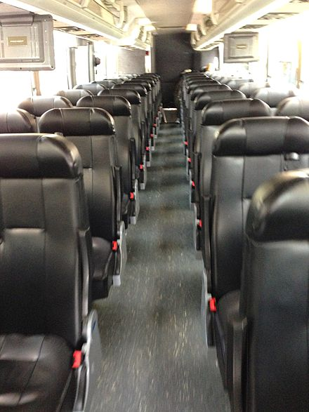 Interior of a 2009 Prevost X3-45 with leather seats BoltBus Interior.jpg