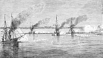 Pescadores Campaign - Image: Bombardment of Chinese forts, Pescadores