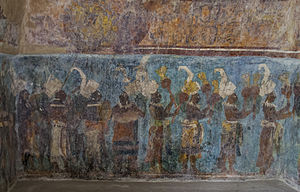 Mexican art - A Maya mural at Bonampak, 8th century AD.