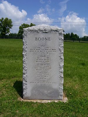 Boone Station - This monument, placed in 1967 by the Daughters of the American Revolution, marks the site of Boone Station. On the monument are the names of five Boone family members thought at the time to have been buried there.  Three of the men listed were killed elsewhere and were probably buried where they died.