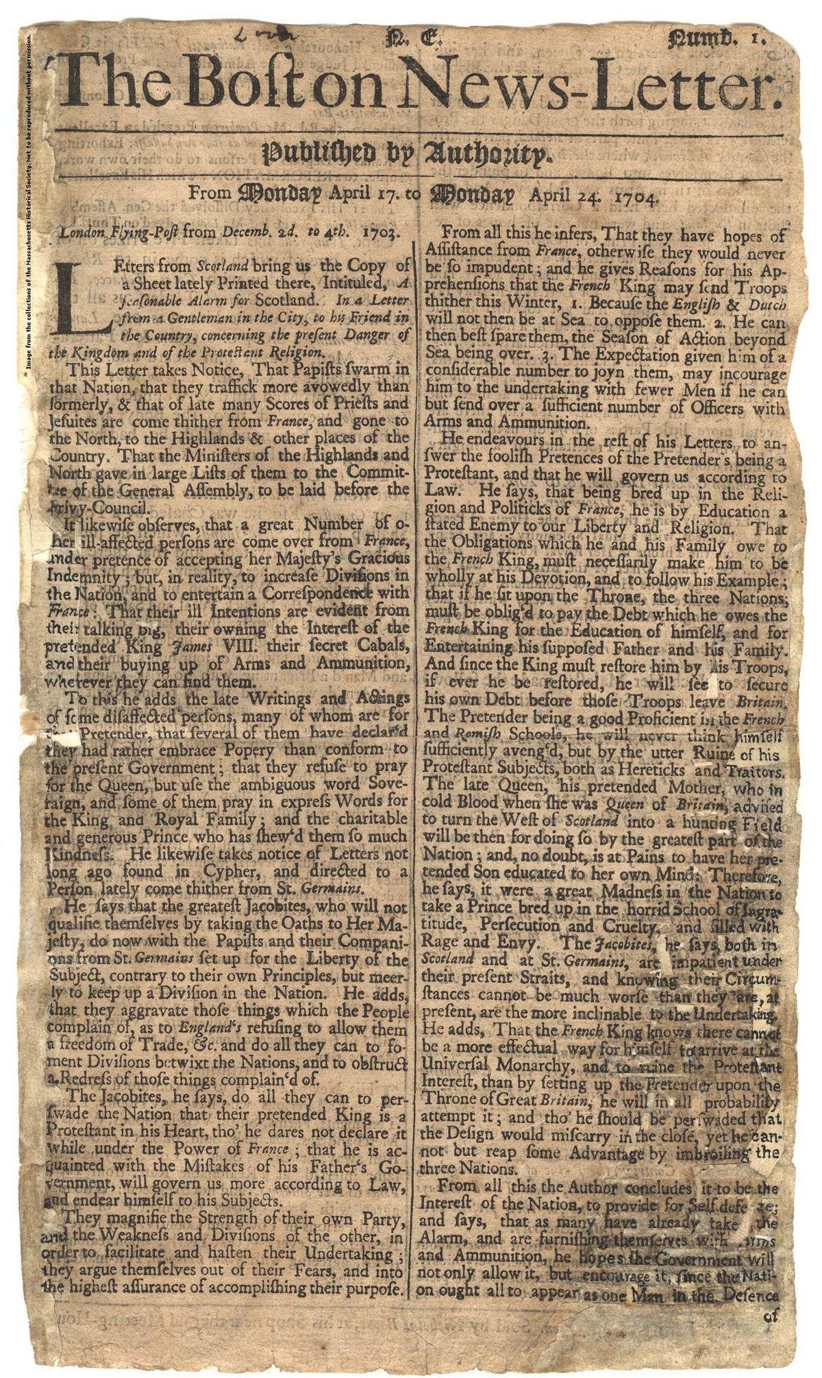 The Boston News Letter   Wikipedia