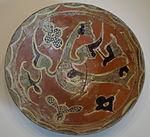 Bowl with bird design, Eastern Iran, Samanid period, 10th century AD, earthenware with underglaze painting in colored slips - Cincinnati Art Museum - DSC04189.JPG