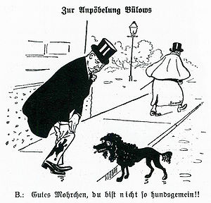 """Harden–Eulenburg affair - Cartoon satirising Bulow published October 1907 in Kladderadatsch.  Title """"On the maligning of Bülow"""", caption """"Good Mohrchen, you would never be such a bad dog!""""."""