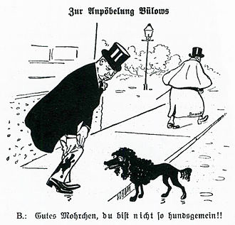 "Bernhard von Bülow - Cartoon satirising Bülow on 27 October 1907 in Kladderadatsch, ""On the maligning of Bülow"", ""Good Mohrchen, you would never be such a bad dog!"""