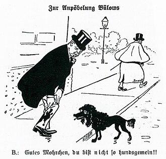 "Bernhard von Bülow - Cartoon satirising Bülow on 27 October 1907 in Kladderadatsch, ""On the maligning of Bülow"", ""Good Mohrchen, you would never be such a bad dog!"""