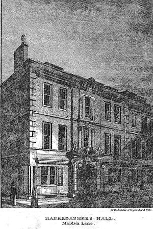 Worshipful Company of Haberdashers - Haberdashers Hall on Maiden Lane (1820)