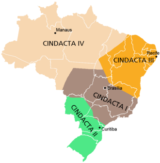 2006–07 Brazilian aviation crisis - Approximate areas covered by CINDACTA's four air-control regions.