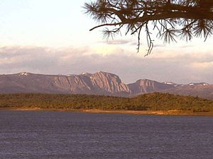 Brazos Mountains - The Brazos Cliffs, looking east at sunset across Heron Lake.