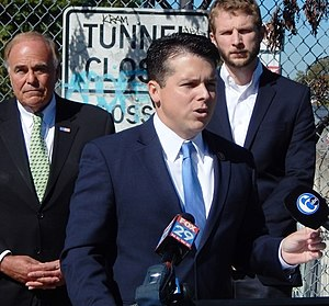Brendan Boyle - Rep. Boyle speaking at a press conference in Philadelphia on transportation funding, October 2015.