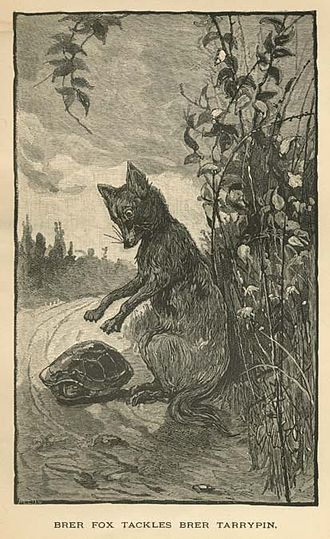 """Foxes in popular culture - """"Brer Fox Tackles Brer Tarrypin"""", from Uncle Remus, His Songs and His Sayings: The Folk-Lore of the Old Plantation, by Joel Chandler Harris. Illustrations by Frederick Stuart Church and James H. Moser. 1881."""