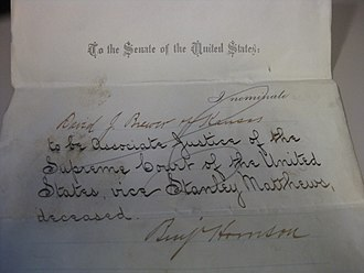 David Josiah Brewer - Brewer's Supreme Court nomination