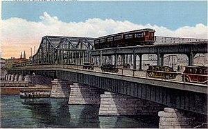 Charlestown Bridge - The Charlestown Bridge in 1929, showing both automotive and elevated railway traffic