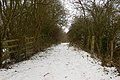 Bridleway at site of dismantled railway bridge, Tomlow - geograph.org.uk - 1656728.jpg