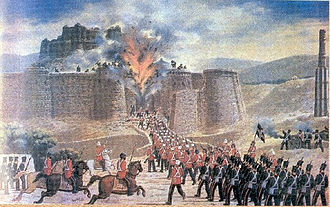First Anglo-Afghan War - A British-Indian force attacks Ghazni fort during the First Afghan War, c.1839.