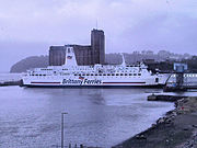 The Pont L'Abbé car ferry harboured in Millbay Docks, before it makes its journey to Roscoff in France