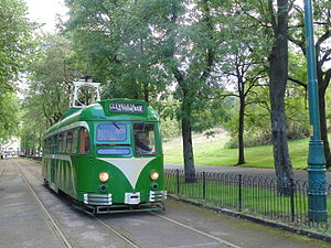 Heaton Park Tramway - Blackpool Brush Railcoach No. 623 operating in the park in 2015.